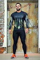 Рашгард мужской с длинным рукавом + Totalfit RM316 XXL Черный с зеленым, фото 1