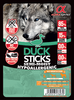 Лакомство для собак Alpha Spirit Sticks Duck 40 г х 4 шт