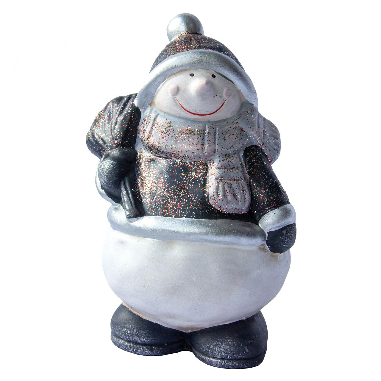 Декоративная фигурка - Снеговик, 14 см, белый с серым, керамика (440917)