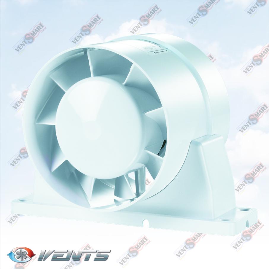 Вентс ВКОк ― изображение канального осевого вентилятора для приточной или вытяжной вентиляции в ванной комнате, на кухне, в санузле или душевой. Вентилятор оснащён специальным крепёжным кронштейном для монтажа на плоские горизонтальные или вертикальные поверхности ― стены или потолок.