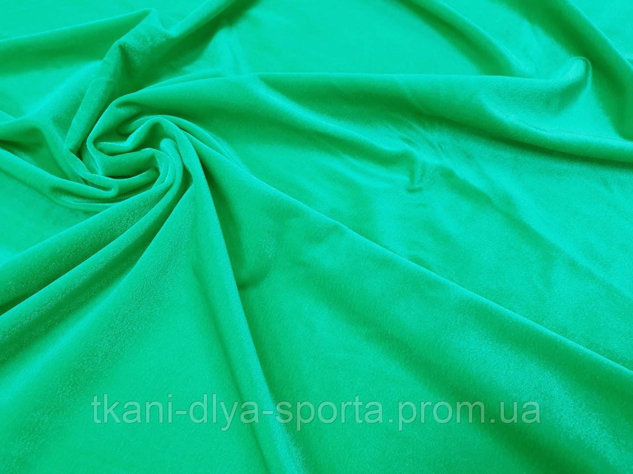 Стрейч-бархат гладкий CHRISANNE (Англия) зеленый (emerald)