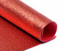 Фоамиран с глиттером, 20х30 см, красный