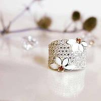 Серебряное широкое кольцо с белой эмалью и цирконом Анабель
