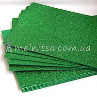 Фоамиран с глиттером, 20х30 см, зеленый