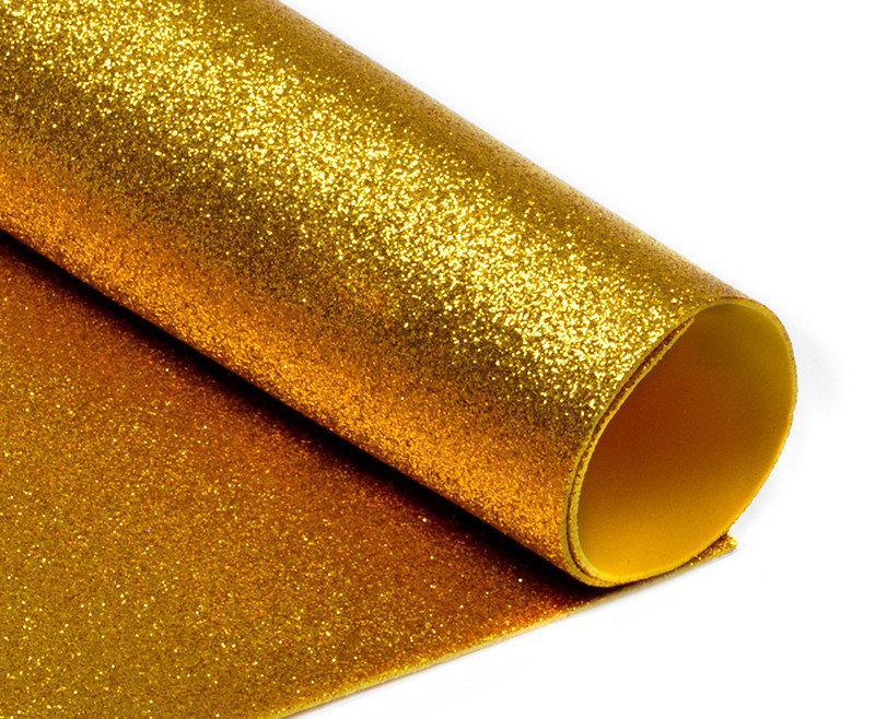 Фоамиран с глиттером, 20х30 см, золото