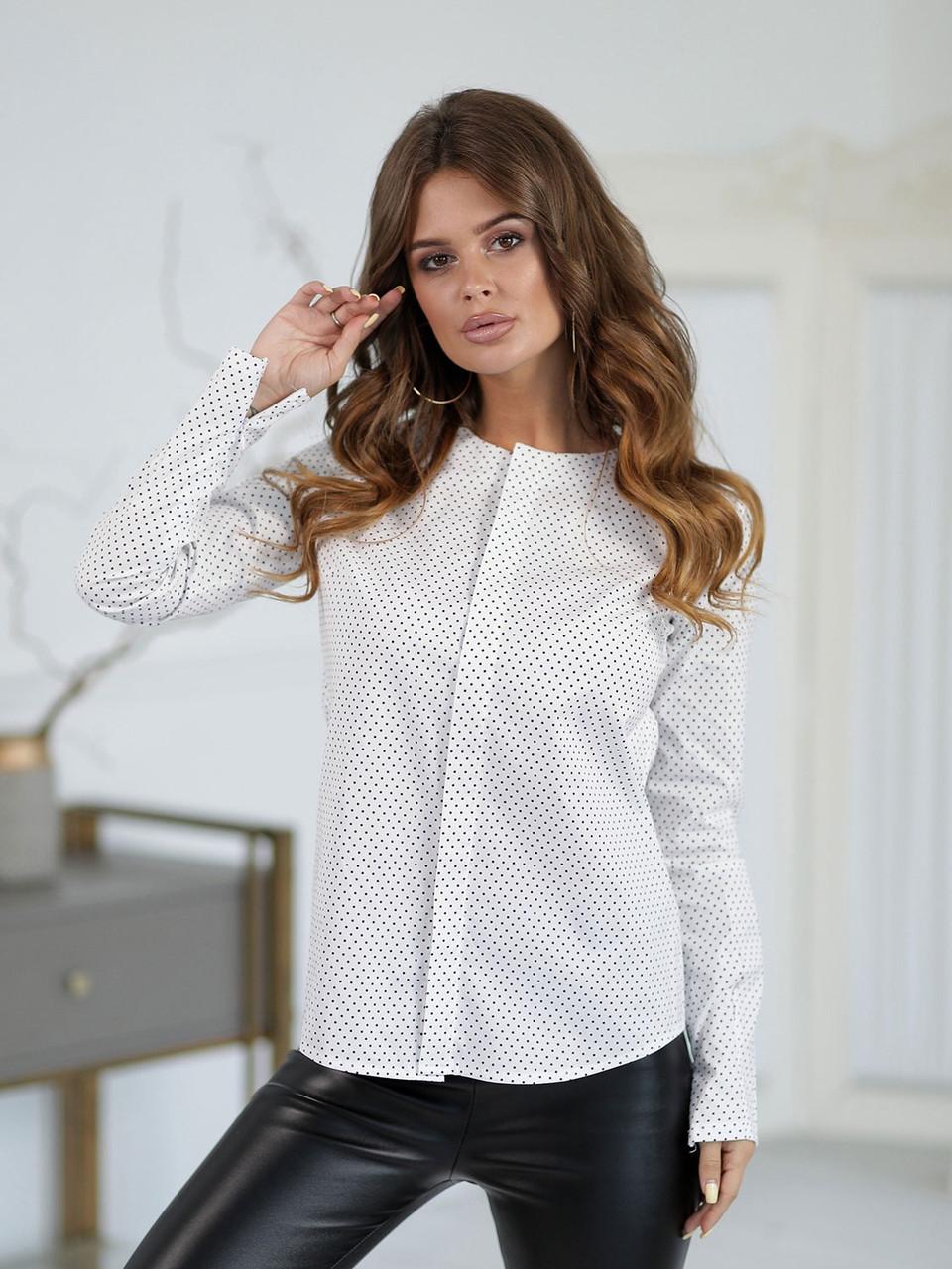 Блузка в горошек белая