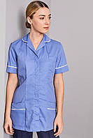 Топ женский медицинский голубой с белым кантом на потайных кнопках Atteks - 03196