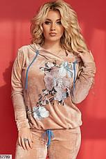 Костюм женский брючный велюровый большие размеры, фото 2