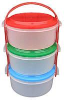 Набор судочков круглых 3 по 1 литру. Набор контейнеров для еды