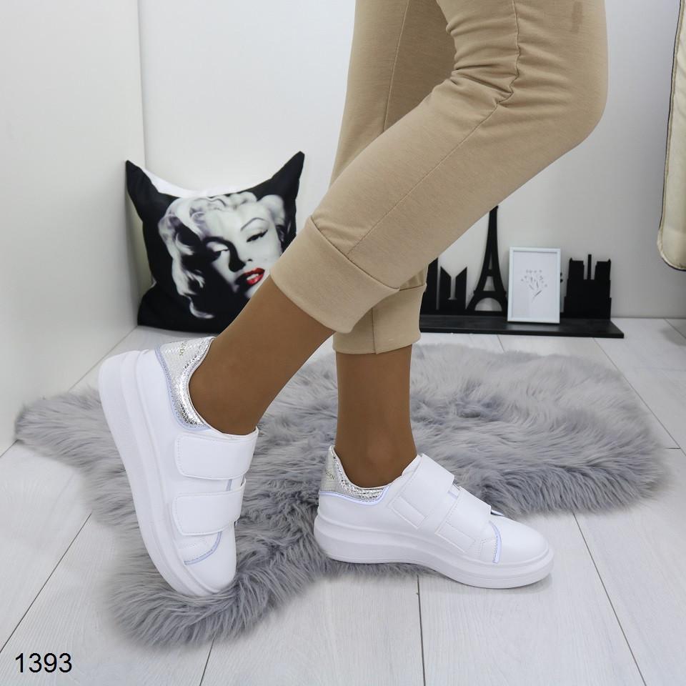 Женские белые кроссовки на липучках с серебряной пяточкой