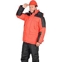 Утепленная оранжевая куртка с черными вставками
