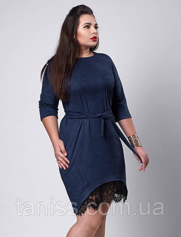 Ошатне ділове плаття великого розміру, тканина замша і мереживо, рукав 3/4 р. 50,52,54 синій (292)