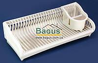 Сушилка для посуды пластик 54см одноярусная с подставкой для столовых приборов БЕЛАЯ РОЗА Алеана ALN-167091-1