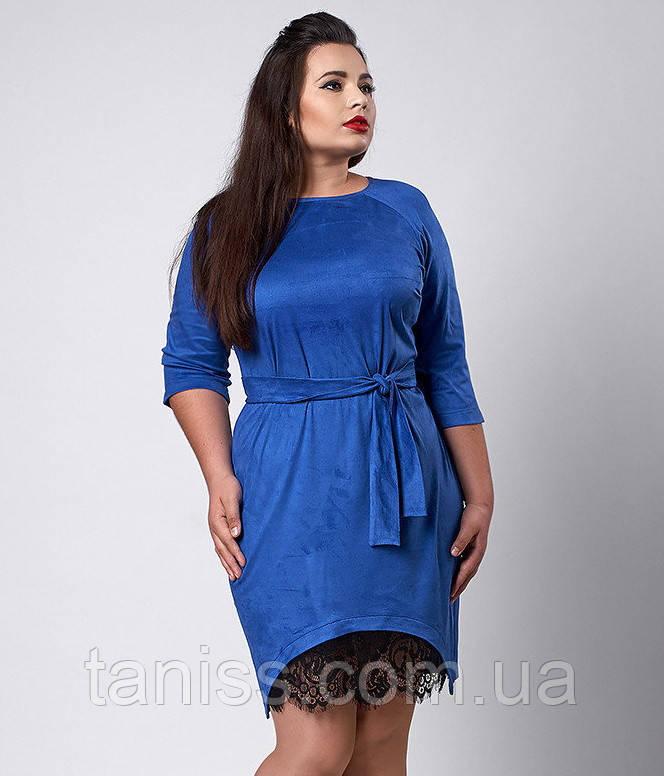 Нарядное деловое платье большого размера, ткань замша и кружево, рукав 3/4 р. 50 электрик (292)