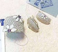 Серебряный набор с эмалью и фиолетовым цирконом Анабель