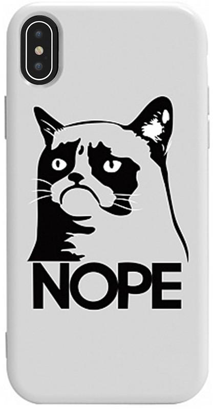 Чехол-накладка TOTO Pure TPU 2mm Print Case Apple iPhone X/XS #4 Cat Nope White #I/S