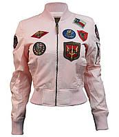 Оригинальный женский бомбер Miss Top Gun MA-1 jacket with patches TGJ1573P-S (Pink), фото 1