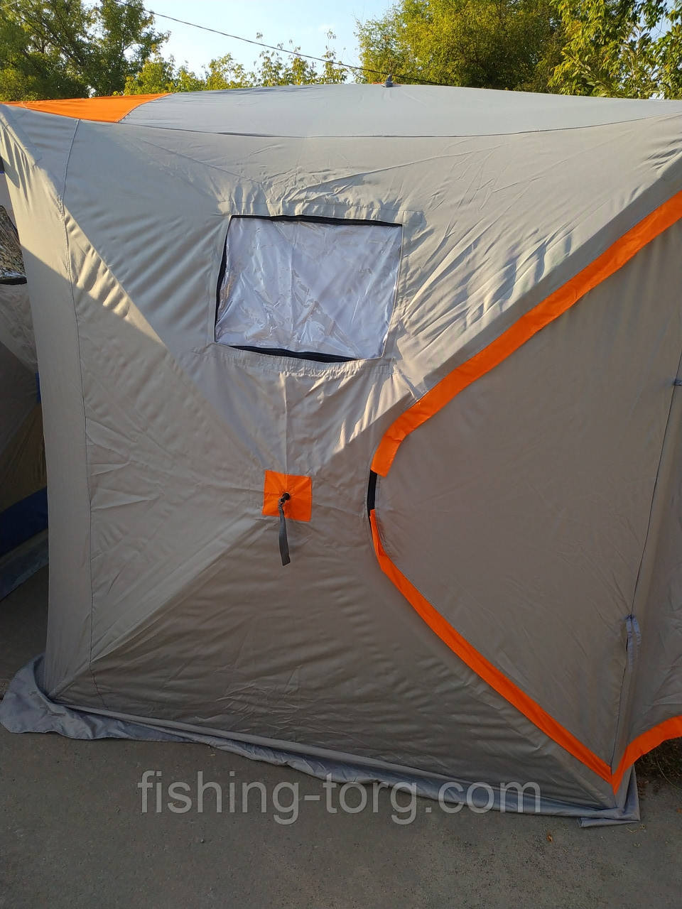 Палатка зимняя КУБ тип ATLANT 180 180 205 см универсальная без дна со сьемными силиконовыми окнами цвет серый