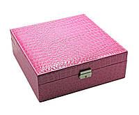 Шкатулка для бижутерии и часов с зеркальцем розовая (26,5х26,5х9 см) ЗП-25770