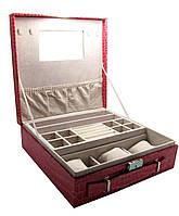 Шкатулка для бижутерии и часов с зеркальцем красная (26,5х26,5х9 см) ЗП-27924