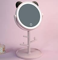 Дзеркало для макіяжу SUNROZ Panda Mirror з LED підсвічуванням Рожевий (SUN5518)