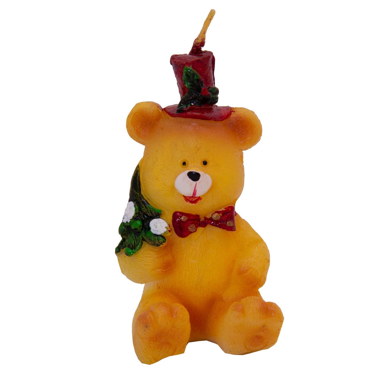 Свечка - Медвежонок с елкой, 7,7 см, бежевый, воск (441099-1)