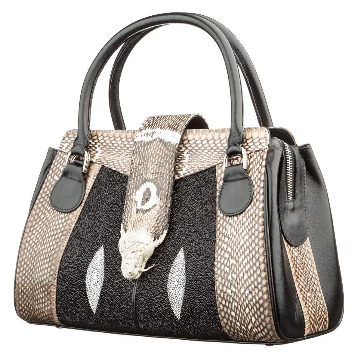 Сумка Женская Stingray Leather 18502 Из Натуральной Кожи Морского Ската Со Вставками Из Кожи Питона Черная, Черный