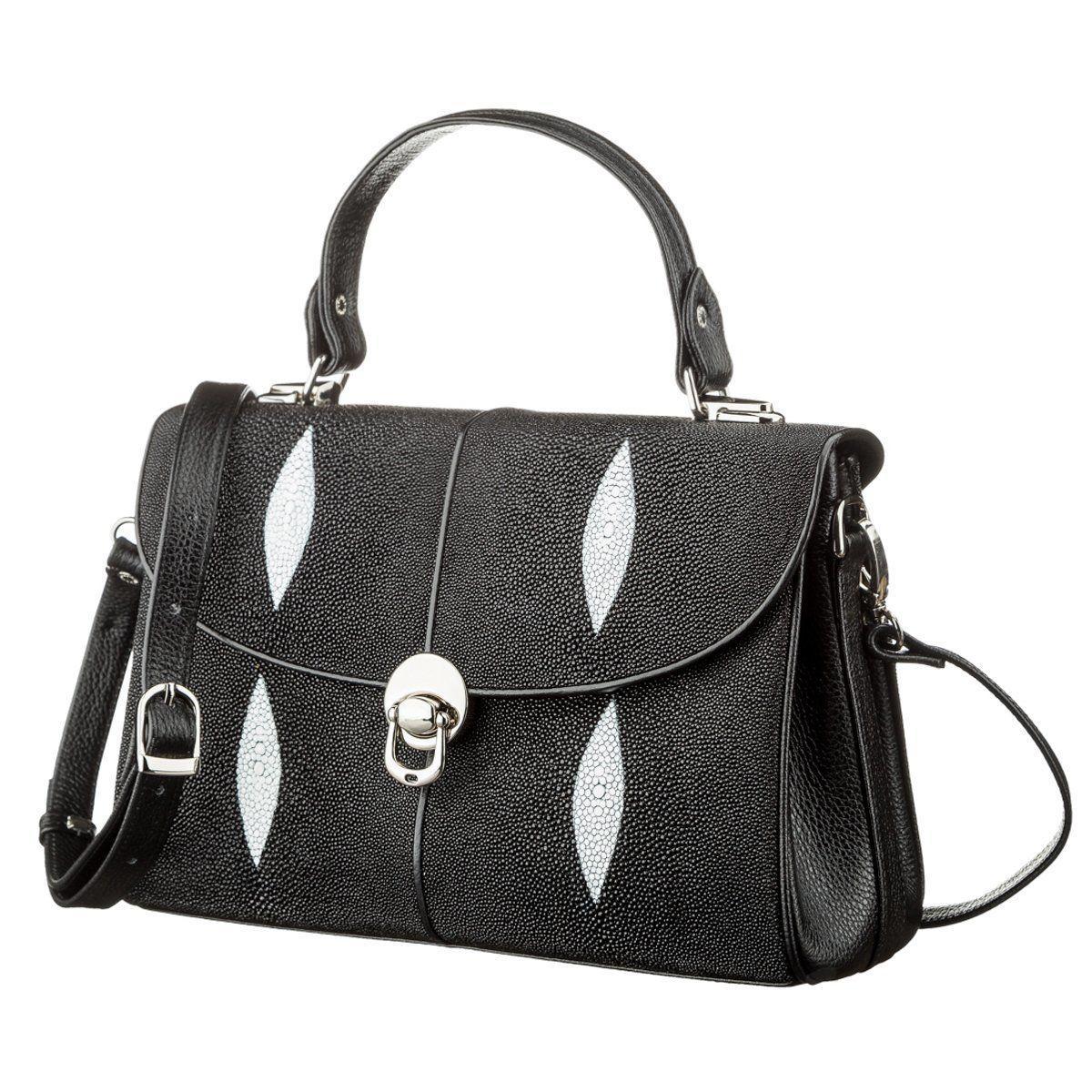 Сумка Женская Stingray Leather 18612 Из Натуральной Кожи Морского Ската Черная, Черный
