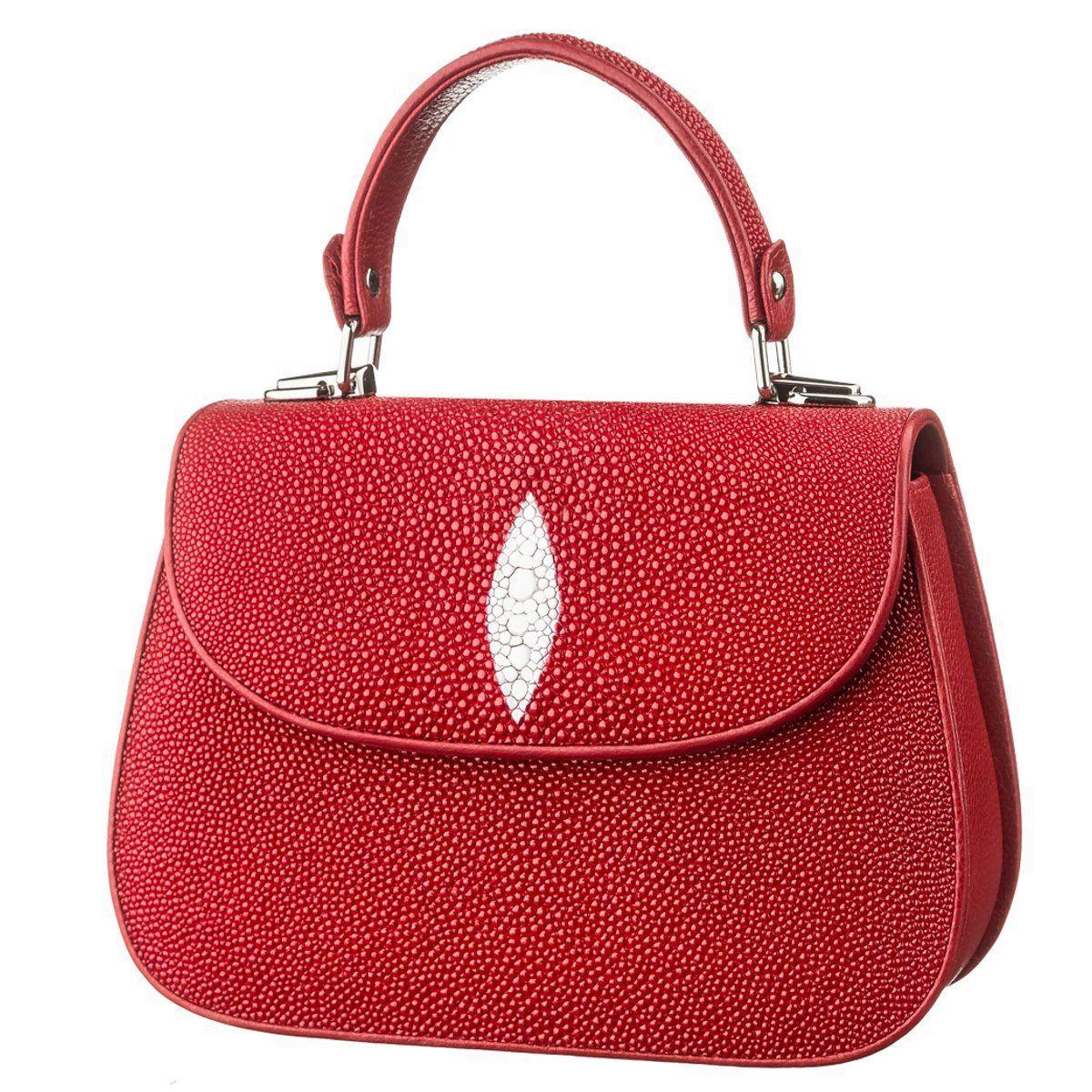 Сумка Женская Stingray Leather 18627 Из Натуральной Кожи Морского Ската Красная, Красный