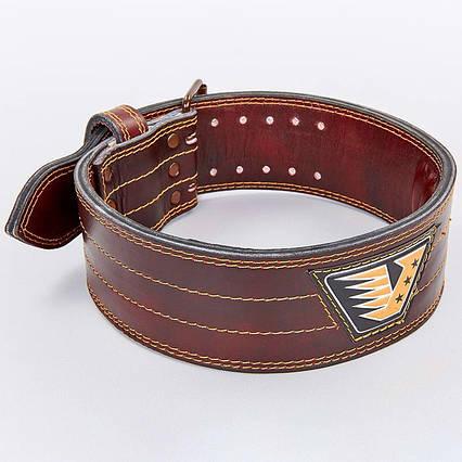 Пояс для пауэрлифтинга кожаный VELO  (ширина-4in (10см), р-р M-XXL, на пряжке), фото 2