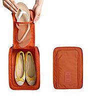 Сумка для обуви на 2 пары мягкая однотонная Genner 30х21х11,5 см Оранжевая (01082/05), фото 1