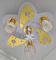 """Люстра потолочная """"Космос"""" с цветной LED подсветкой и автоматическим отключением с пультом (19х49х49 см.) Белый, золото YR-5507/3+1"""