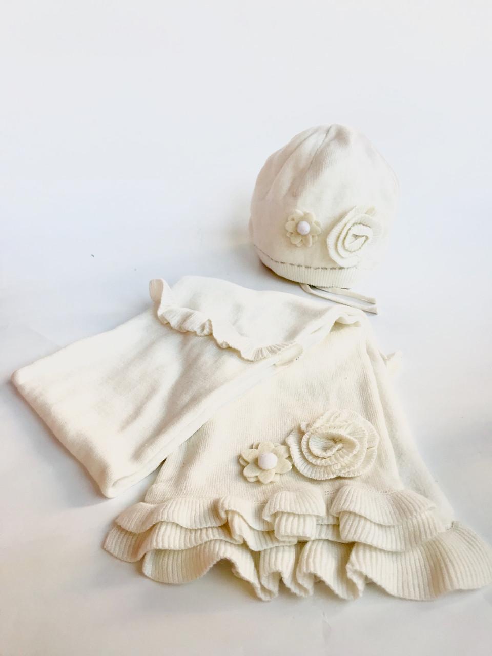 Комплект шапка + шарф для дівчинки BRUMS Італія 133BELD005 Молочний весняний осінній демісезонний