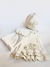 Комплект шапка + шарф для девочки BRUMS Италия 133BELD005 Молочный весенний осенний демисезонный