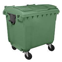 Контейнер для мусора 1100 л, пластик, цвет зеленый