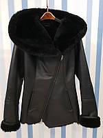 Женская кожаная дубленка с капюшоном, фото 1
