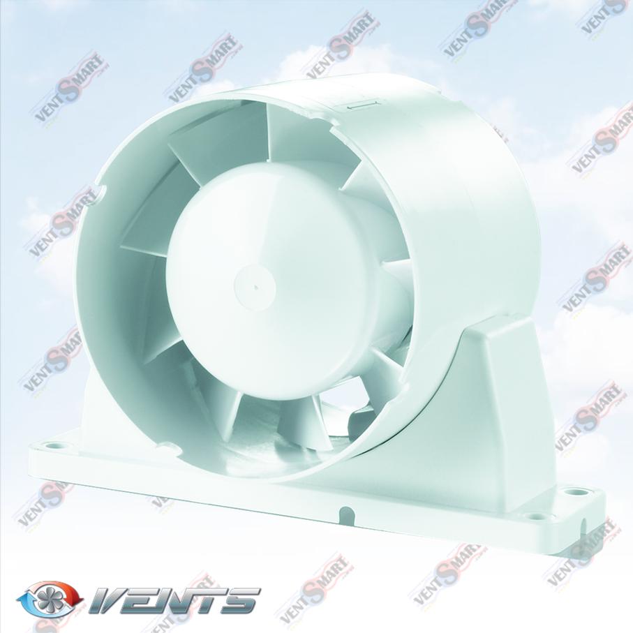 Вентс ВКО1к ― изображение канального осевого вентилятора для приточной или вытяжной вентиляции в ванной комнате, на кухне, в санузле или душевой. Вентилятор оснащён специальным крепёжным кронштейном для монтажа на плоские горизонтальные или вертикальные поверхности ― стены или потолок.