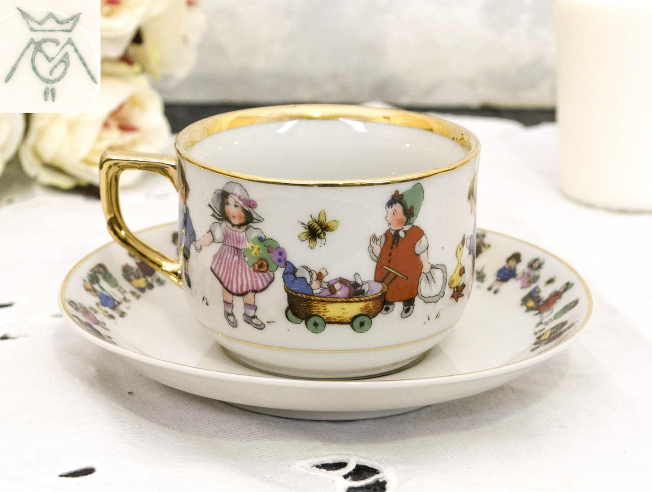 Винтажная фарфоровая детская чашка с блюдцем, Metzler & Ortloff, Германия