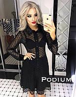 Изящное черное платье в горошек, фото 1