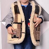 Жилет детский с узором из овечьей шерсти 2-9 лет с карманами для мальчика