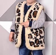 Жилет детский с узором из овчины 2-9 лет с карманами 747158229