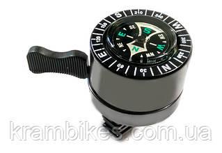 Звонок на руль X17 стальн. ударный с компасом, круглый, черн.