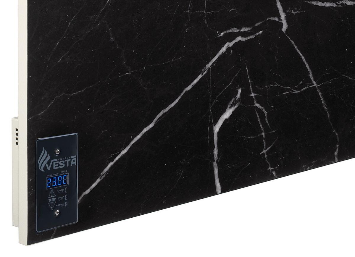 Инфракрасная керамическая панель с терморегулятором Vesta Energy PRO 700 черная. Обогрееет 14 м2