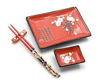 """Сервиз для суши """"Красный с сакурой""""(28х14 см)(1 персона) ЗП-25102"""