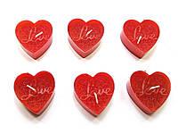 """Свечи """"Сердечки Love"""" (6 шт) красные (14,5х10х2 см)"""