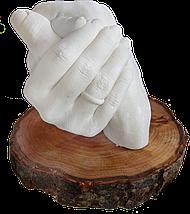 Набор для создания гипсовых 3д скульптур Слепок 5,5 л + подставка, 3D скульптуры рук, романтический подарок, фото 3