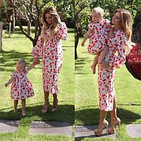Парные платья для мамы и дочки Cherry