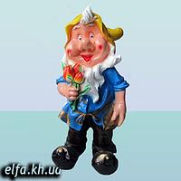 """Садовая фигура для дома и сада Гном """"Мультяшка с тюльпанами"""" 85 см."""