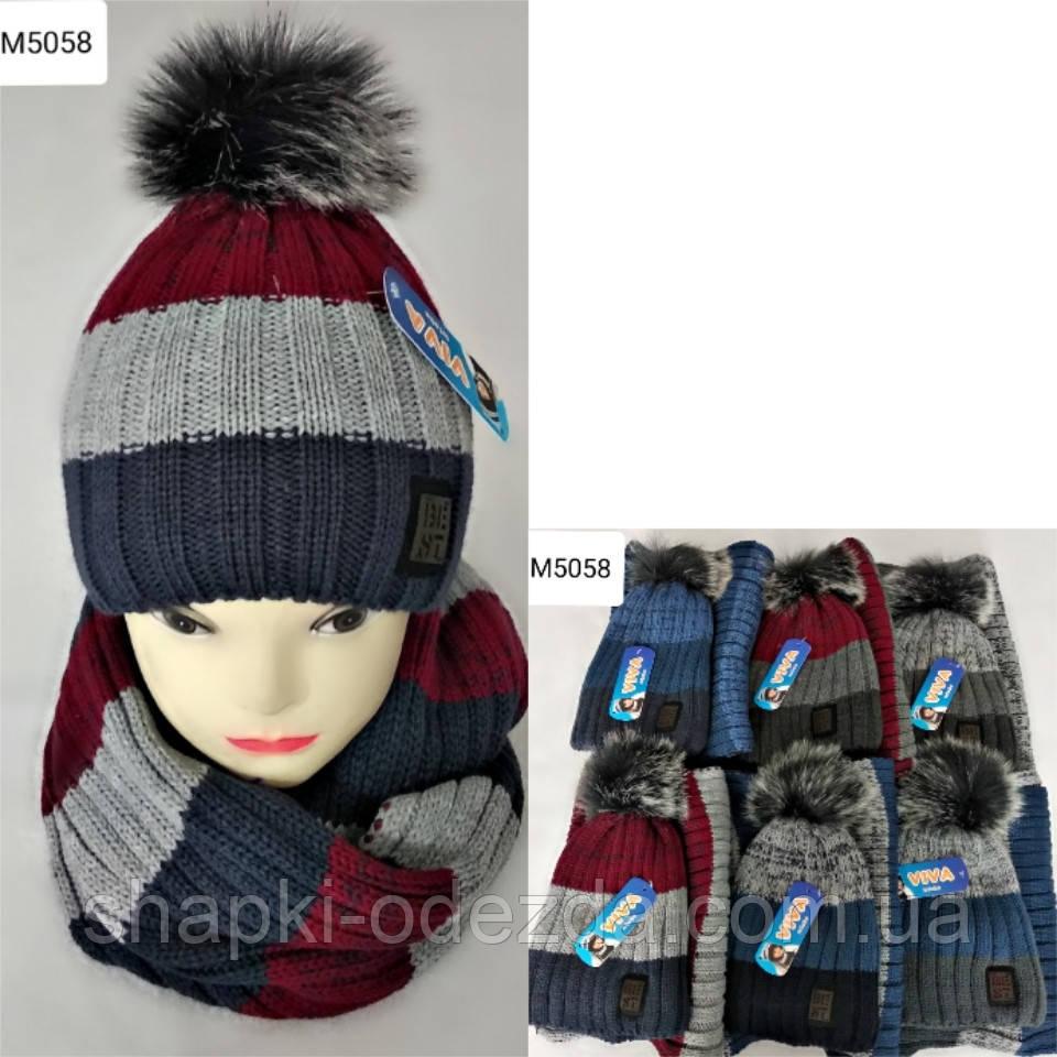 Вязаная шапка + хамут для мальчика на флисе 3-12 лет оптом