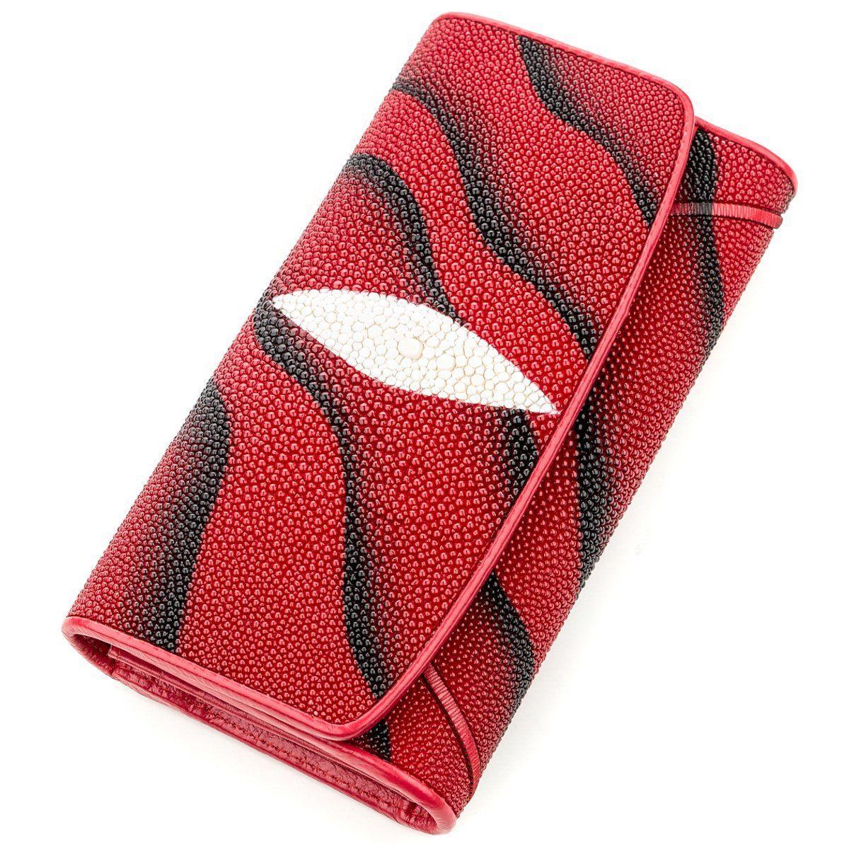 Гаманець Жіночий Stingray Leather 18536 З Натуральної Шкіри Морського Скату Червоний, Червоний